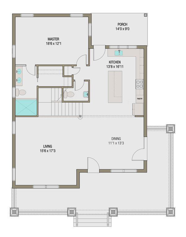 Craftsman Floor Plan - Main Floor Plan Plan #461-45