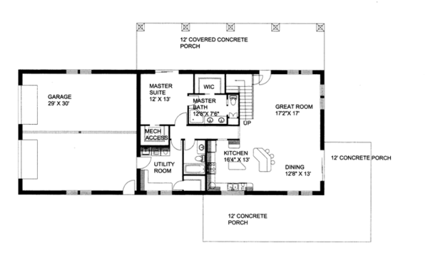 Contemporary Floor Plan - Main Floor Plan Plan #117-855