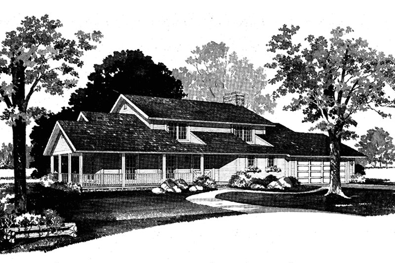House Blueprint - Country Exterior - Front Elevation Plan #72-719