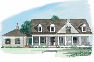 Architectural House Design - Country Exterior - Front Elevation Plan #1054-1