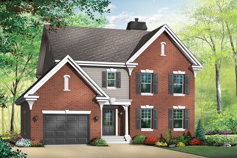 Colonial Style House Plan - 3 Beds 2.5 Baths 1807 Sq/Ft Plan #23-376 Exterior - Front Elevation