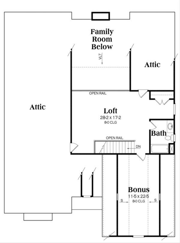 Craftsman Floor Plan - Upper Floor Plan Plan #419-252