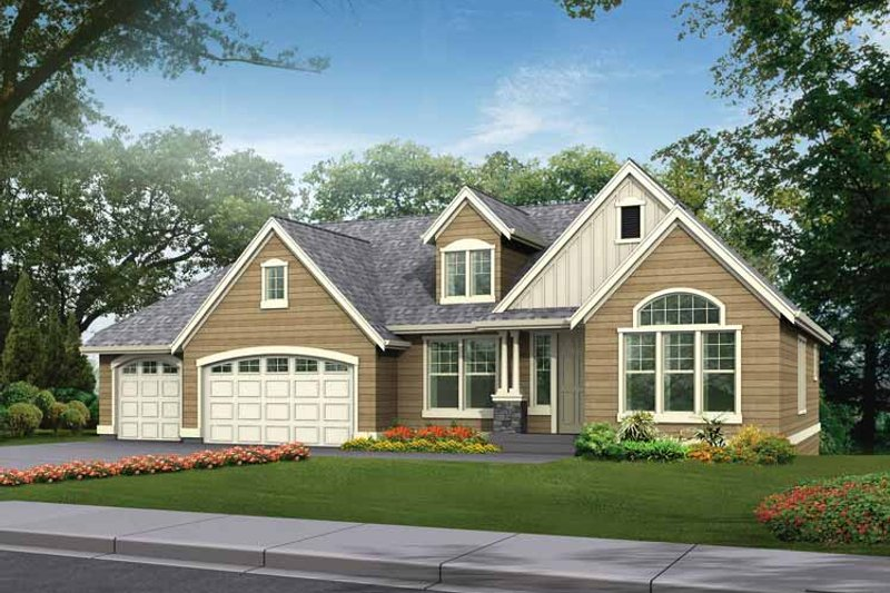 Architectural House Design - Craftsman Exterior - Front Elevation Plan #132-342