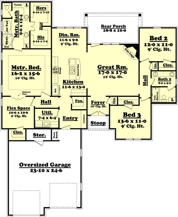 European Floor Plan - Main Floor Plan Plan #430-73