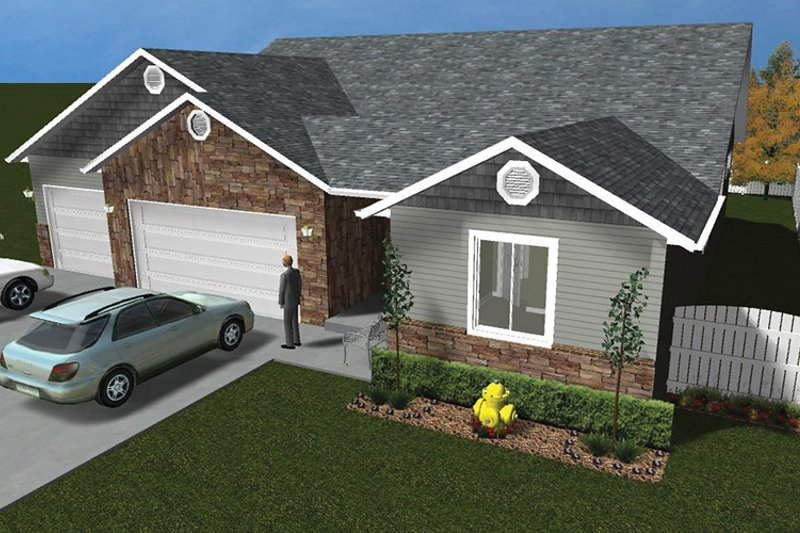 Ranch Exterior - Front Elevation Plan #1060-12 - Houseplans.com