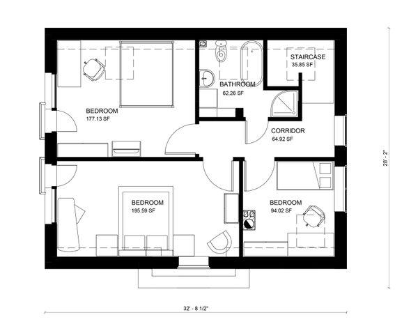 Traditional Floor Plan - Upper Floor Plan #906-24