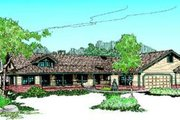 Ranch Style House Plan - 4 Beds 2 Baths 2424 Sq/Ft Plan #60-214 Exterior - Front Elevation