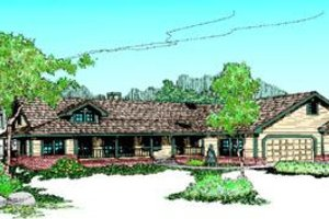 Ranch Exterior - Front Elevation Plan #60-214