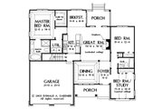 Traditional Style House Plan - 3 Beds 2 Baths 1486 Sq/Ft Plan #929-58 Floor Plan - Main Floor