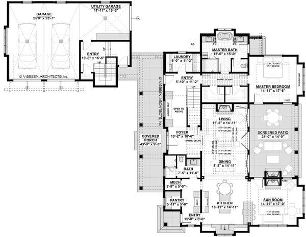 Southern Floor Plan - Main Floor Plan Plan #928-316