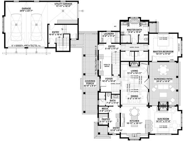 Southern Floor Plan - Main Floor Plan #928-316