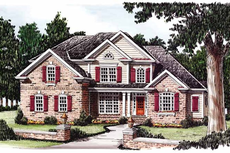 Colonial Exterior - Front Elevation Plan #927-599