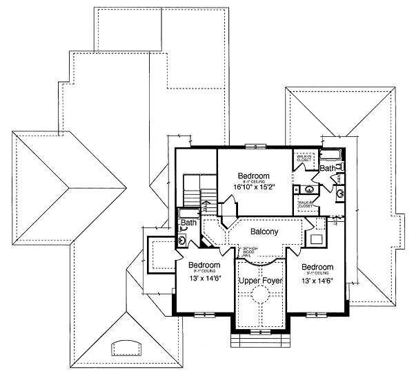 Traditional Floor Plan - Upper Floor Plan Plan #46-398