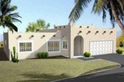 Adobe / Southwestern Style House Plan - 3 Beds 2 Baths 1411 Sq/Ft Plan #1-1248 Exterior - Front Elevation