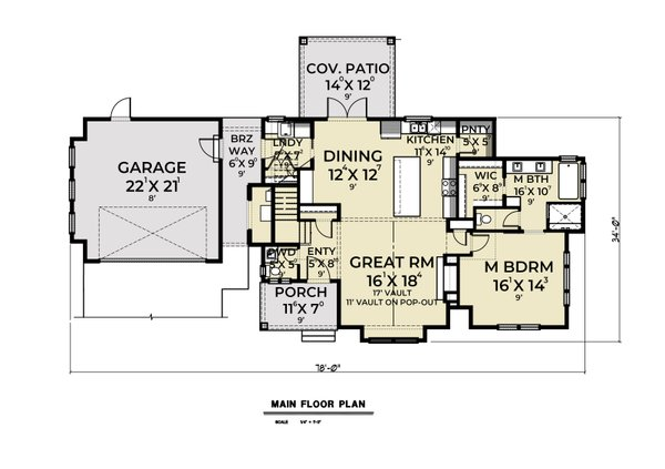 House Plan Design - Farmhouse Floor Plan - Main Floor Plan #1070-34