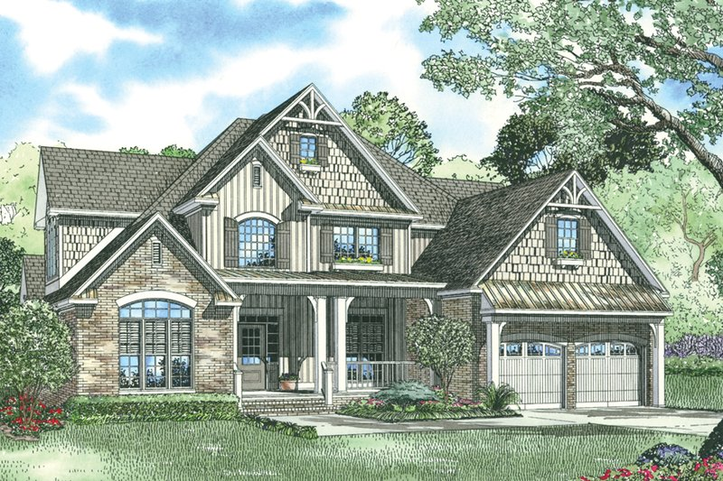 Craftsman Style House Plan - 4 Beds 3 Baths 2755 Sq/Ft Plan #17-1167 Exterior - Front Elevation