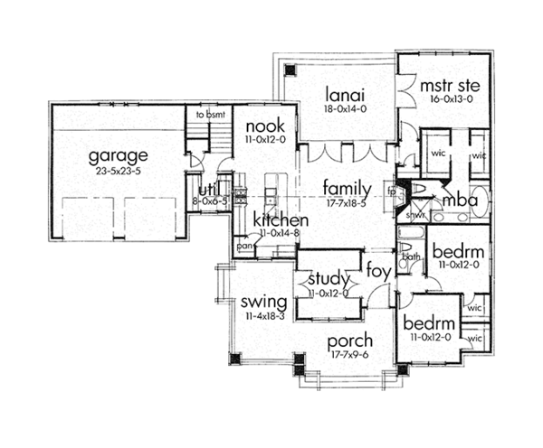 Craftsman Floor Plan - Main Floor Plan Plan #120-249