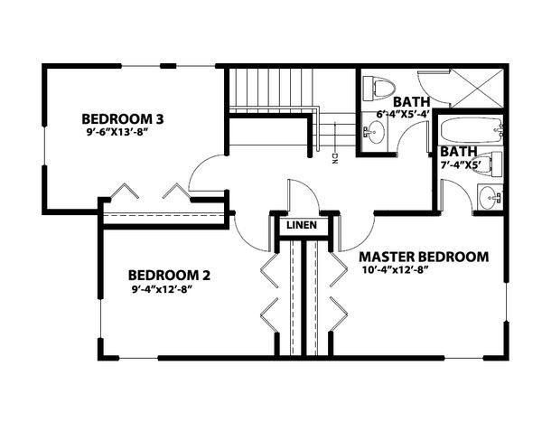 Traditional Floor Plan - Upper Floor Plan Plan #515-22