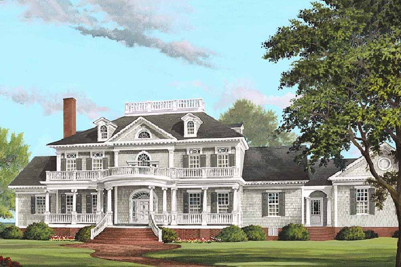 Southern Exterior - Front Elevation Plan #137-186 - Houseplans.com