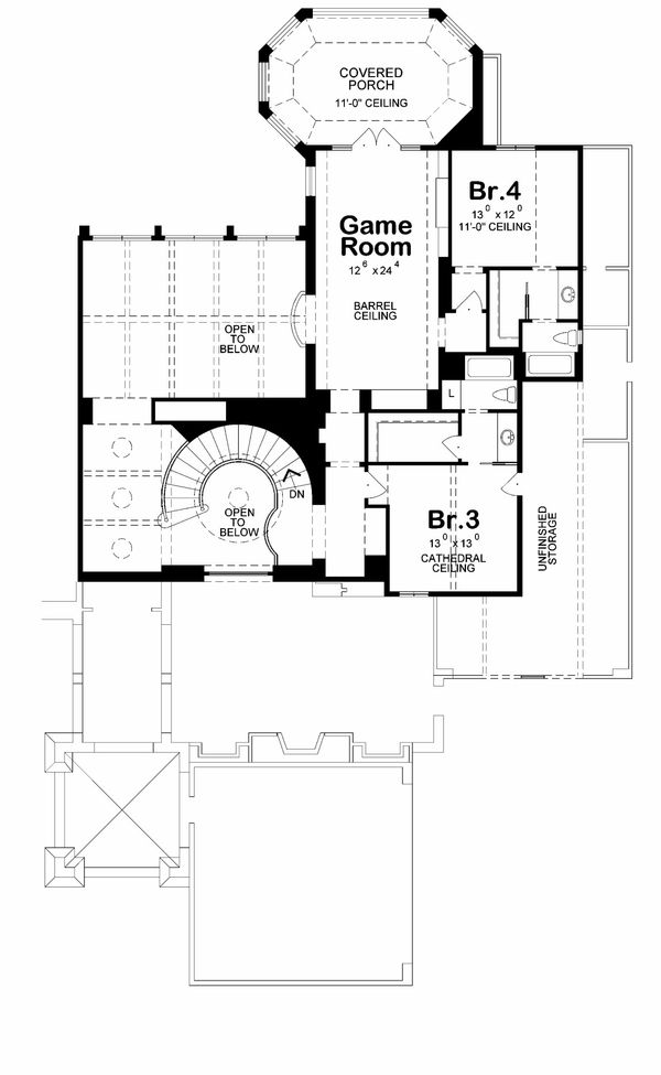 European Floor Plan - Upper Floor Plan Plan #20-2175