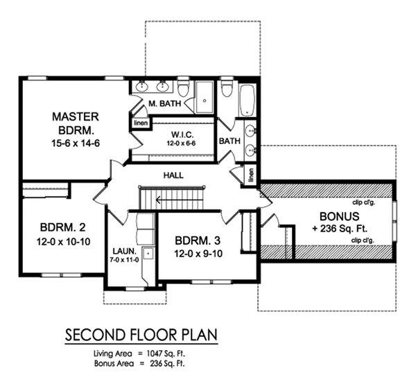 Traditional Floor Plan - Upper Floor Plan Plan #1010-240
