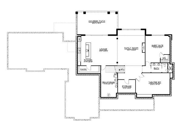 Dream House Plan - Farmhouse Floor Plan - Lower Floor Plan #1064-99