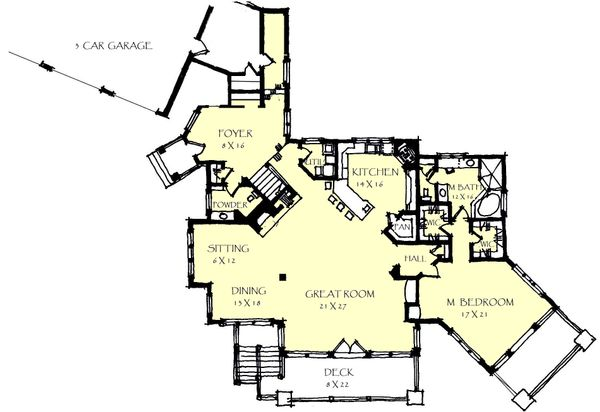 Craftsman Floor Plan - Main Floor Plan Plan #921-26