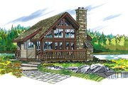 Cabin Style House Plan - 1 Beds 1 Baths 680 Sq/Ft Plan #47-429 Exterior - Front Elevation