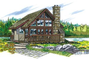 Cabin Exterior - Front Elevation Plan #47-429