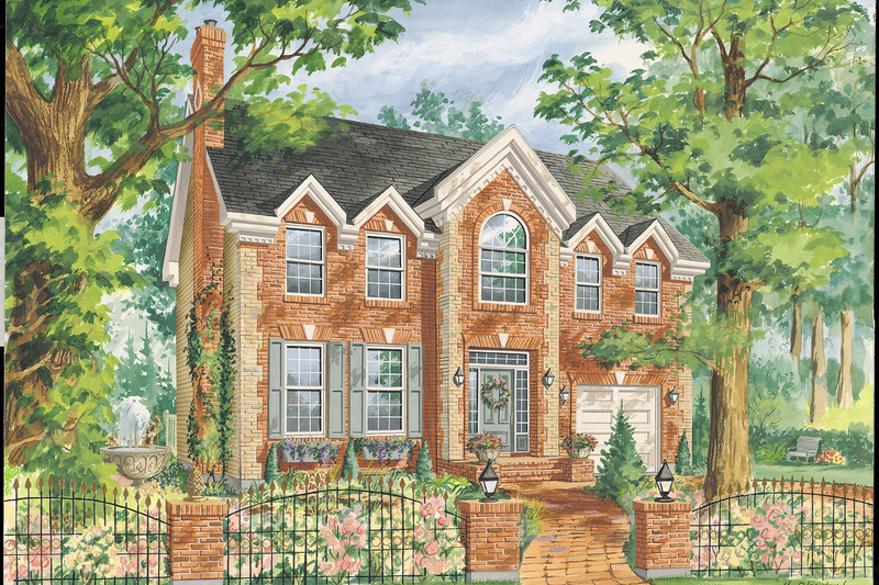 Colonial Style House Plan - 4 Beds 2 Baths 2484 Sq/Ft Plan #25-4767 Exterior - Front Elevation