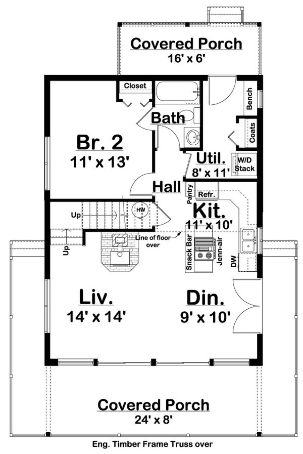 Dream House Plan - Cabin Floor Plan - Main Floor Plan #126-181