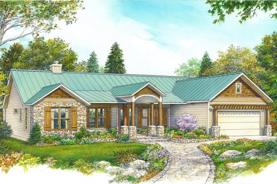 Country Exterior - Front Elevation Plan #140-192