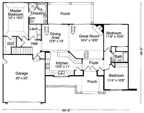 Architectural House Design - Craftsman style house plan, main level floor plan