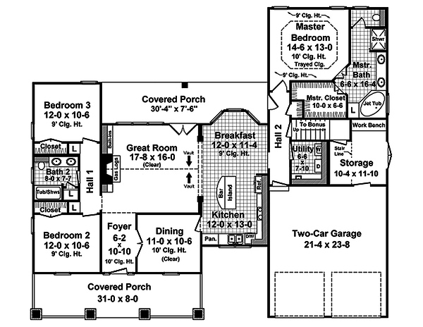 Dream House Plan - Craftsman style house plan, main level floor plan