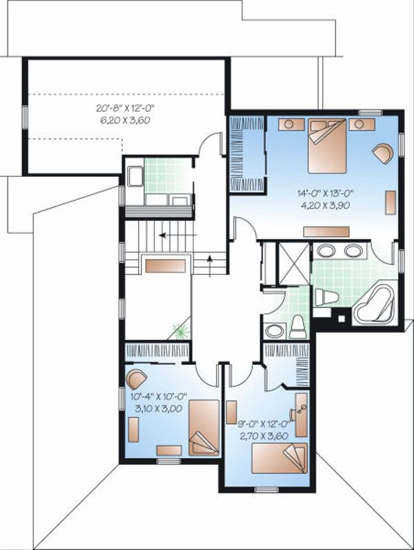 Farmhouse Floor Plan - Upper Floor Plan Plan #23-840