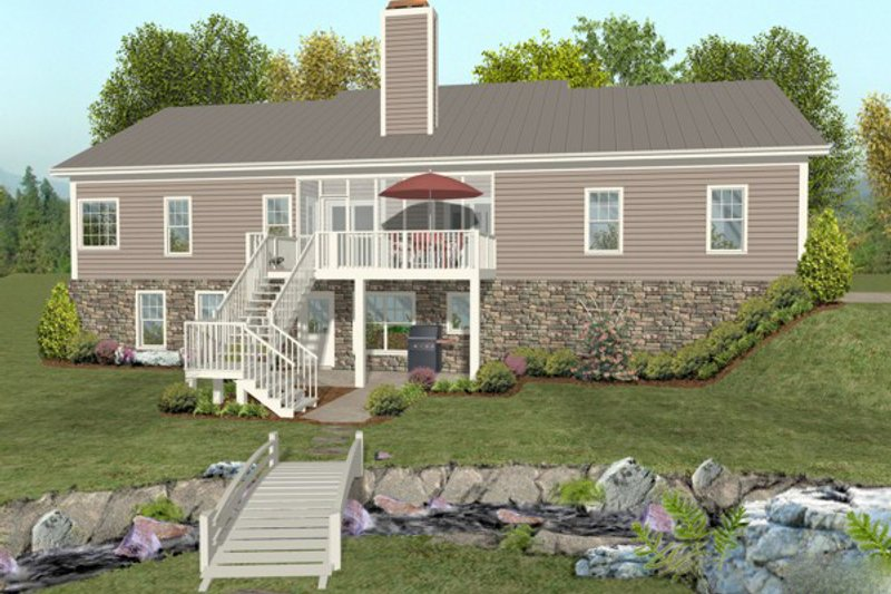 Traditional Exterior - Rear Elevation Plan #56-606 - Houseplans.com