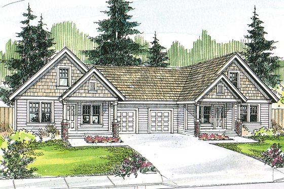 Craftsman Exterior - Front Elevation Plan #124-709