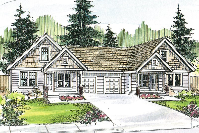 Craftsman Style House Plan - 3 Beds 2 Baths 1426 Sq/Ft Plan #124-709 Exterior - Front Elevation