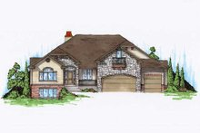 European Exterior - Front Elevation Plan #5-369