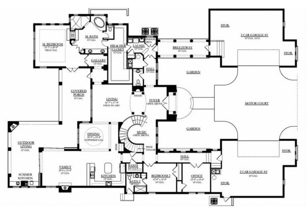 Mediterranean Floor Plan - Main Floor Plan Plan #1058-97