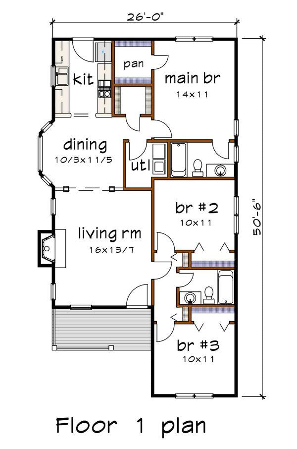 House Plan Design - Cottage Floor Plan - Main Floor Plan #79-136