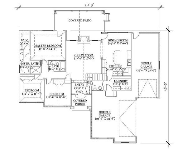 Architectural House Design - Traditional Floor Plan - Main Floor Plan #5-246