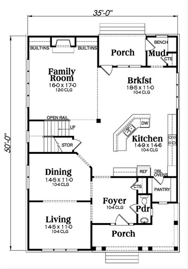 Craftsman Floor Plan - Main Floor Plan Plan #419-264