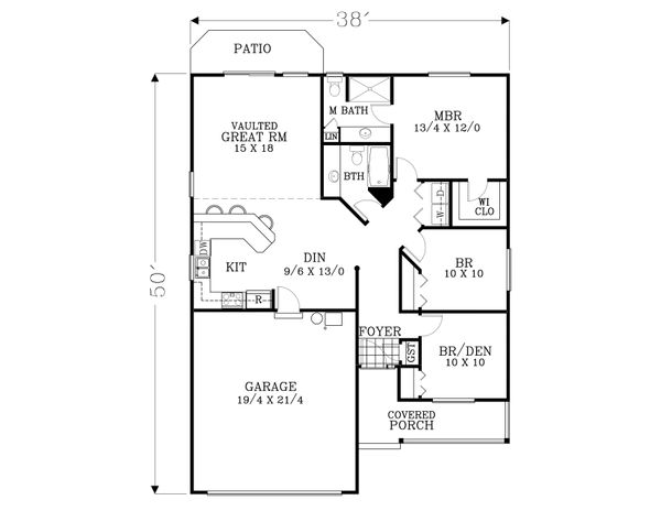 Craftsman Floor Plan - Main Floor Plan Plan #53-609