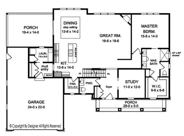 Craftsman Floor Plan - Main Floor Plan Plan #1010-161
