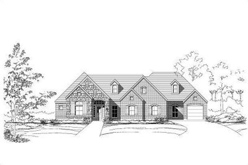 European Style House Plan - 4 Beds 3 Baths 2732 Sq/Ft Plan #411-632 Exterior - Front Elevation
