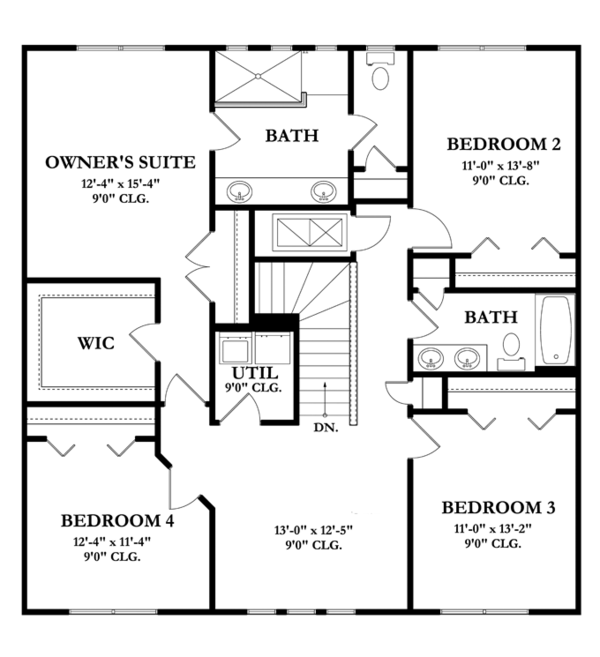 Mediterranean Floor Plan - Upper Floor Plan Plan #1058-64