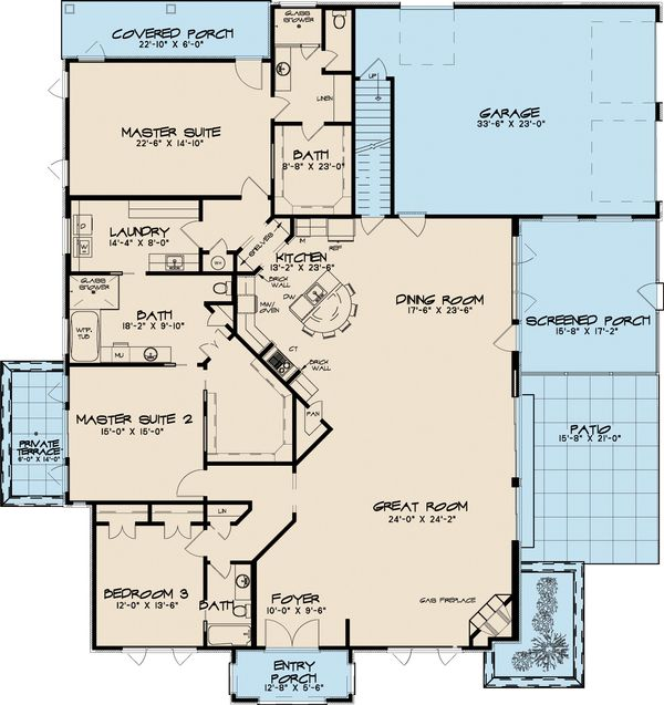 Southern Floor Plan - Main Floor Plan Plan #17-2593