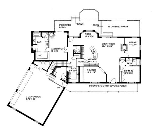 Ranch Floor Plan - Main Floor Plan Plan #117-848
