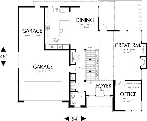 Main Level Floor Plan - 3600 square foot Prairie home